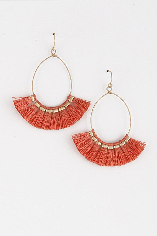 Ashley Fringe Earrings in Coral