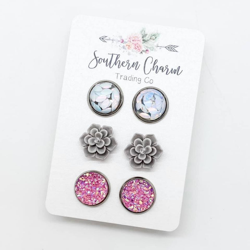 White Glitter Leafs/Grey Succulents/Pink Sparkles Studs in Stainless Steel Settings