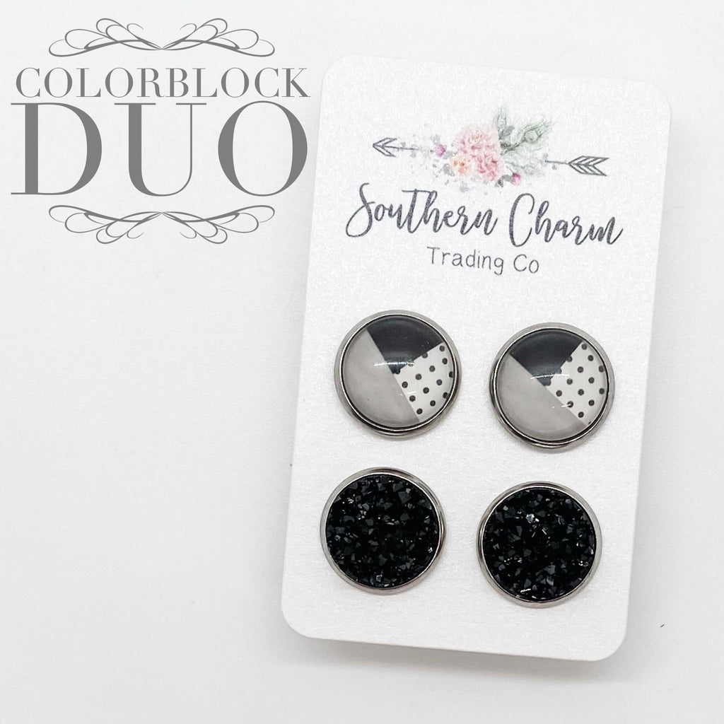 Black/Grey/Polka Dot Colorblock & Black Studs in Stainless Steel Settings