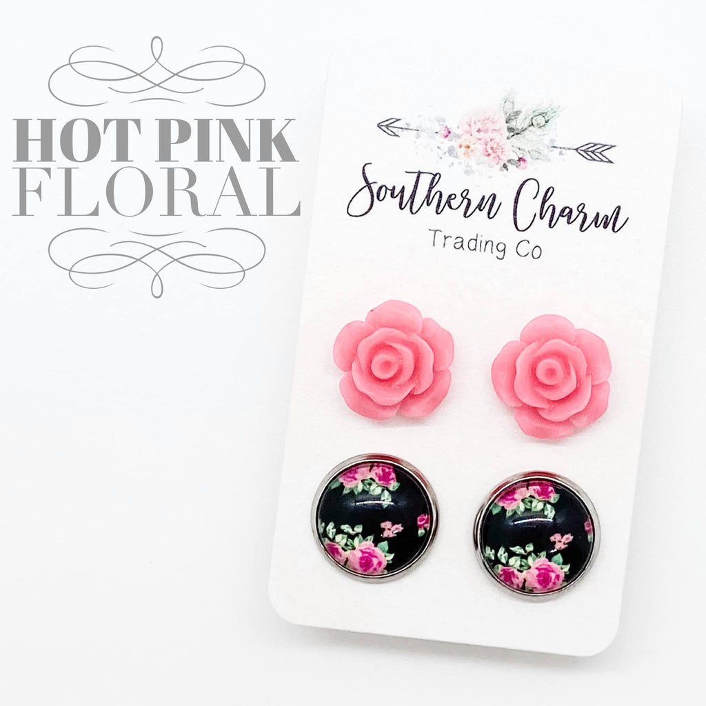 Hot Pink Roses & Black Floral Studs in Stainless Steel Settings