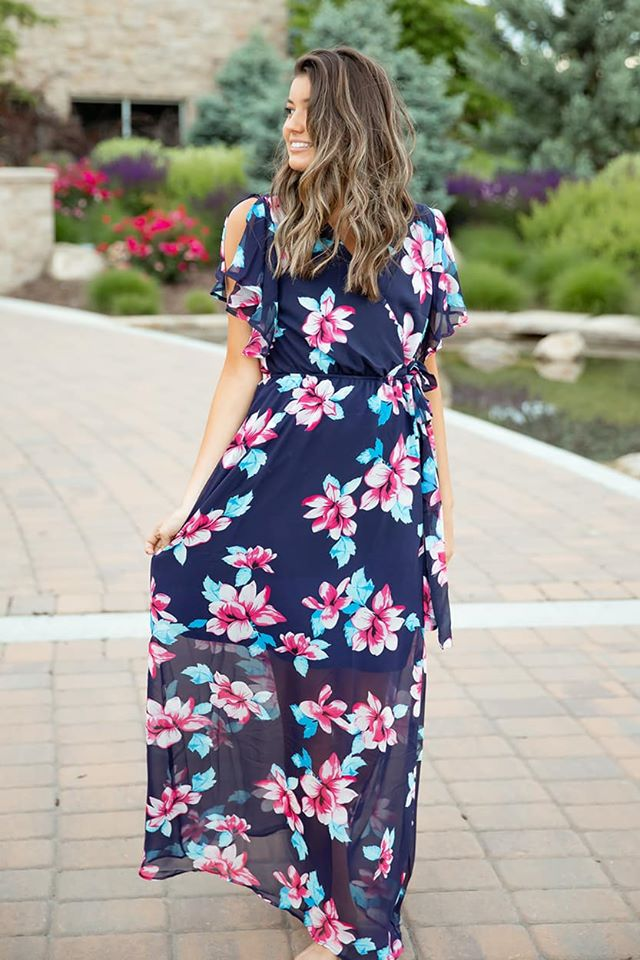 All About Us Floral Chiffon Maxi Dress with Front Tie