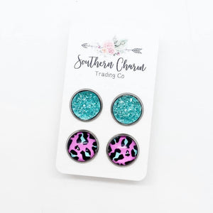 12mm Mint Sparkles & Neon Pink Leopard in Stainless Steel Settings