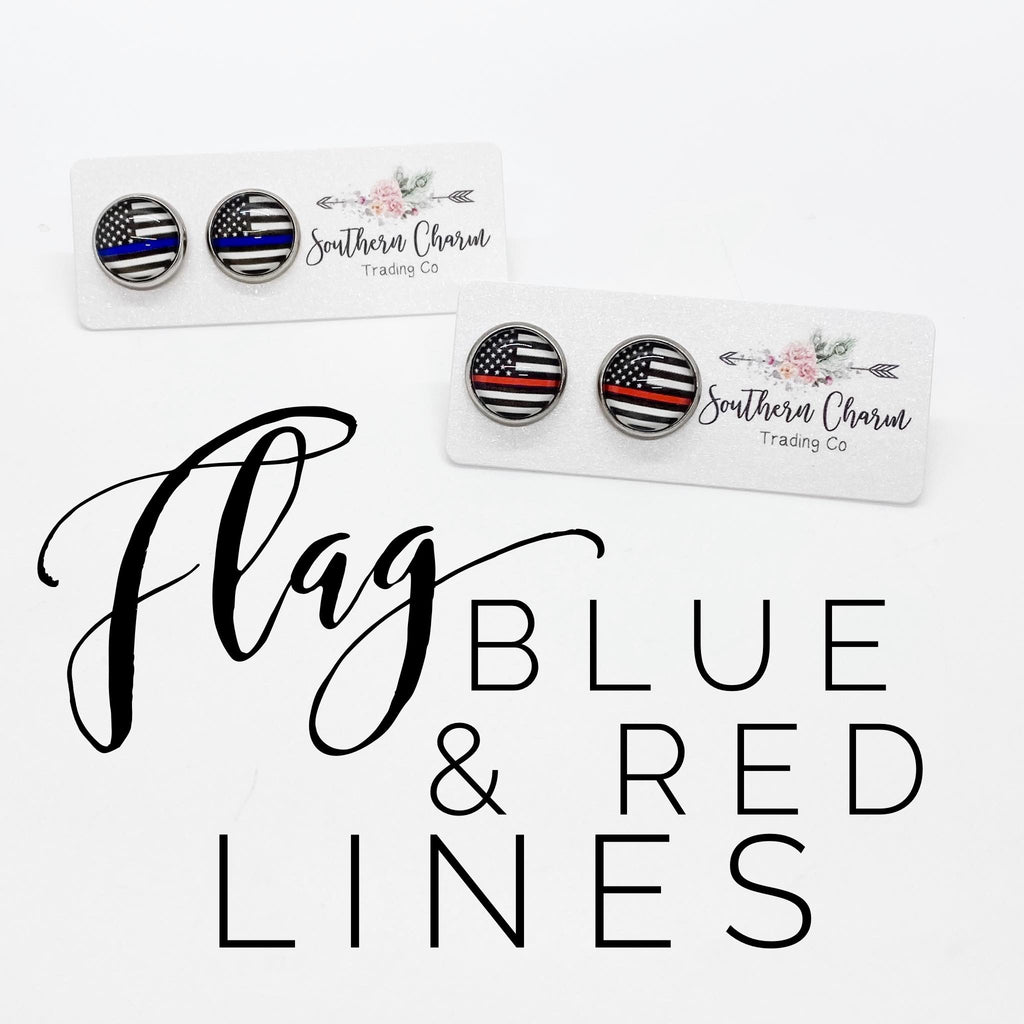Flag Blue and Red Line Studs in Stainless Steel Settings