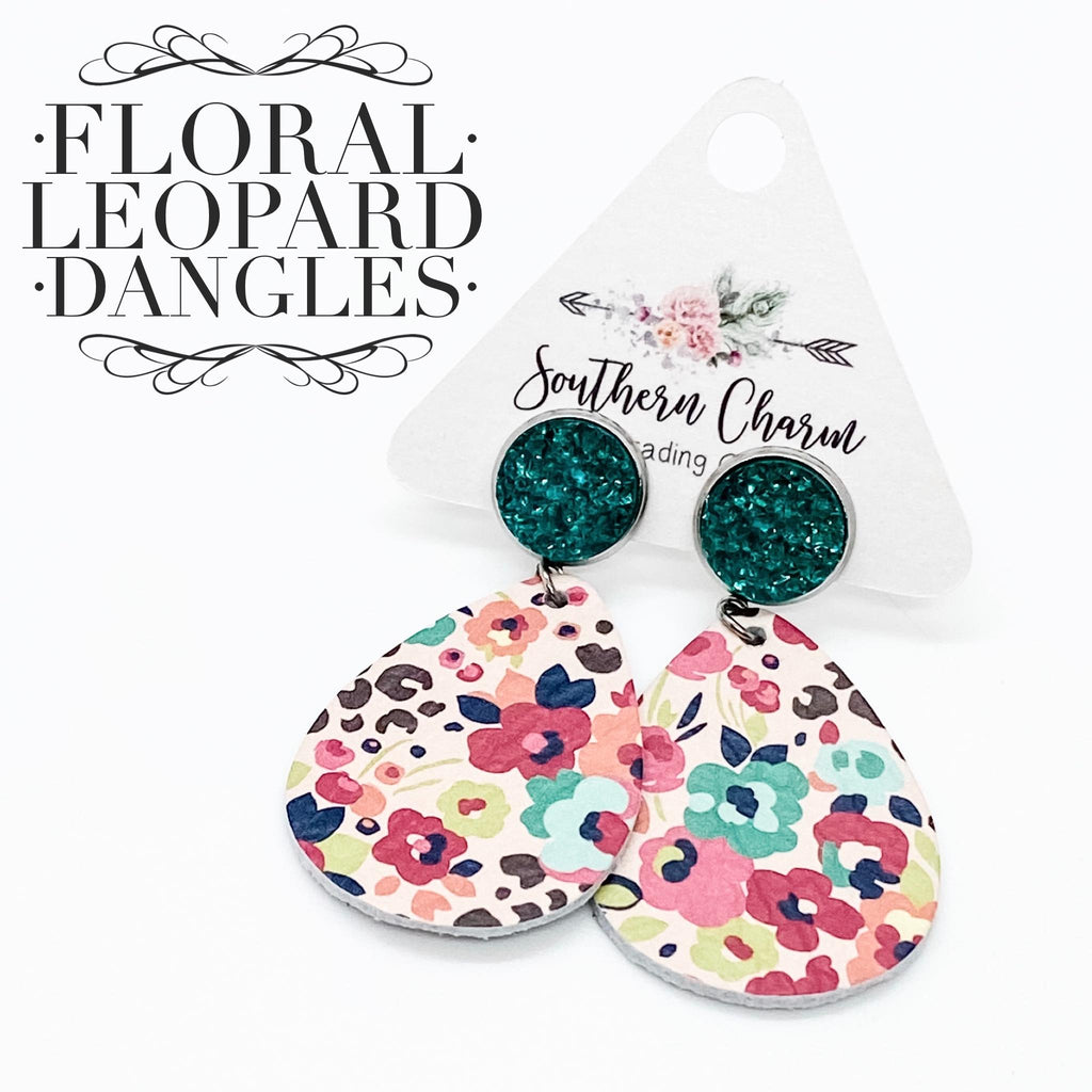 Floral Leopard Leather and Druzy Bitty Earrings