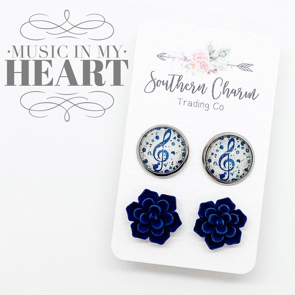 Navy Music & Navy Succulent Studs  in Stainless Steel Settings