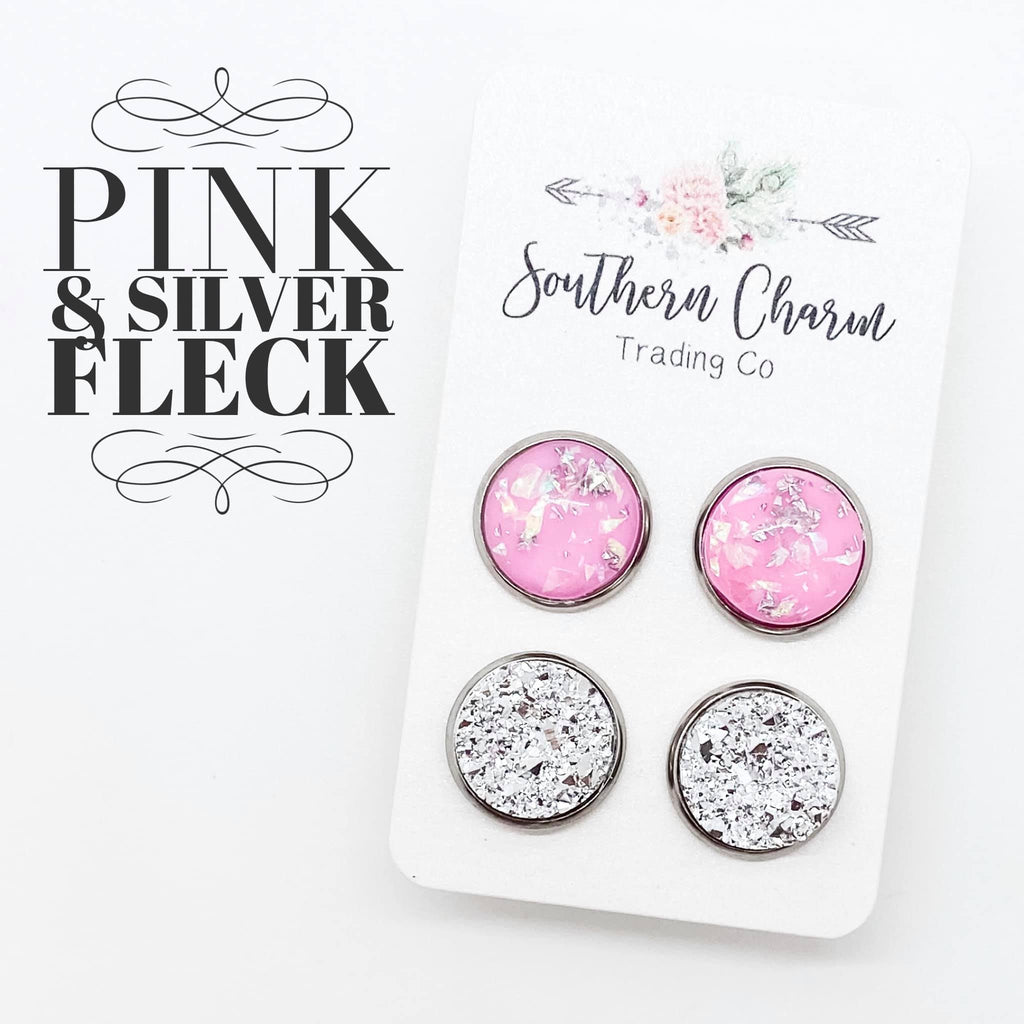 Medium Pink-Silver Fleck & Silver Studs in Stainless Steel Settings