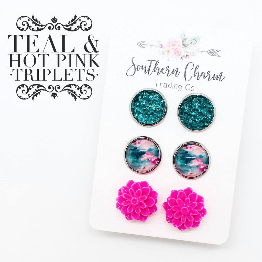 Teal Green/Hot Pink & Teal Swirl/15mm Hot Pink Flowers in Stainless Steel Settings