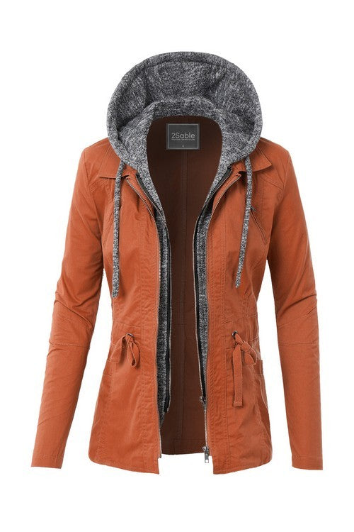 Take Charge Cargo Jacket With Hood in Rust