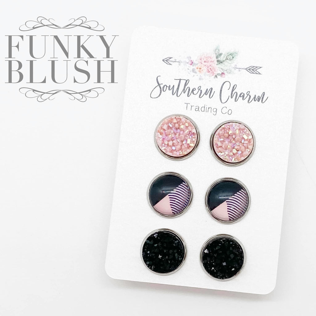 12mm Blush Shimmer/Blush & Black Abstract/Black Studs in Stainless Steel Settings