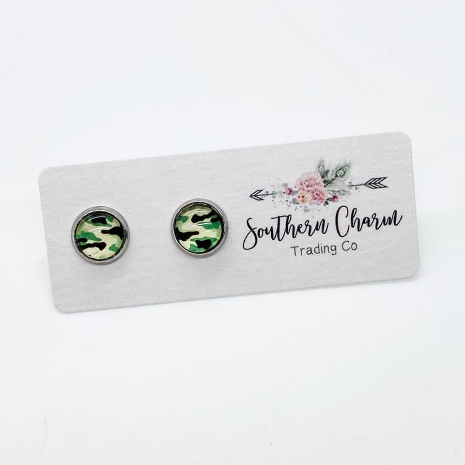 8mm Green Camouflage Studs in Stainless Steel Settings