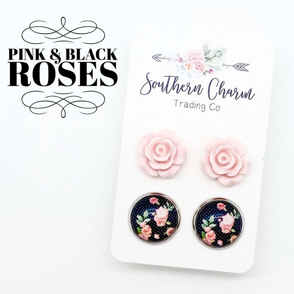 Pink Roses & Black/Pink Roses Studs in Stainless Steel Settings