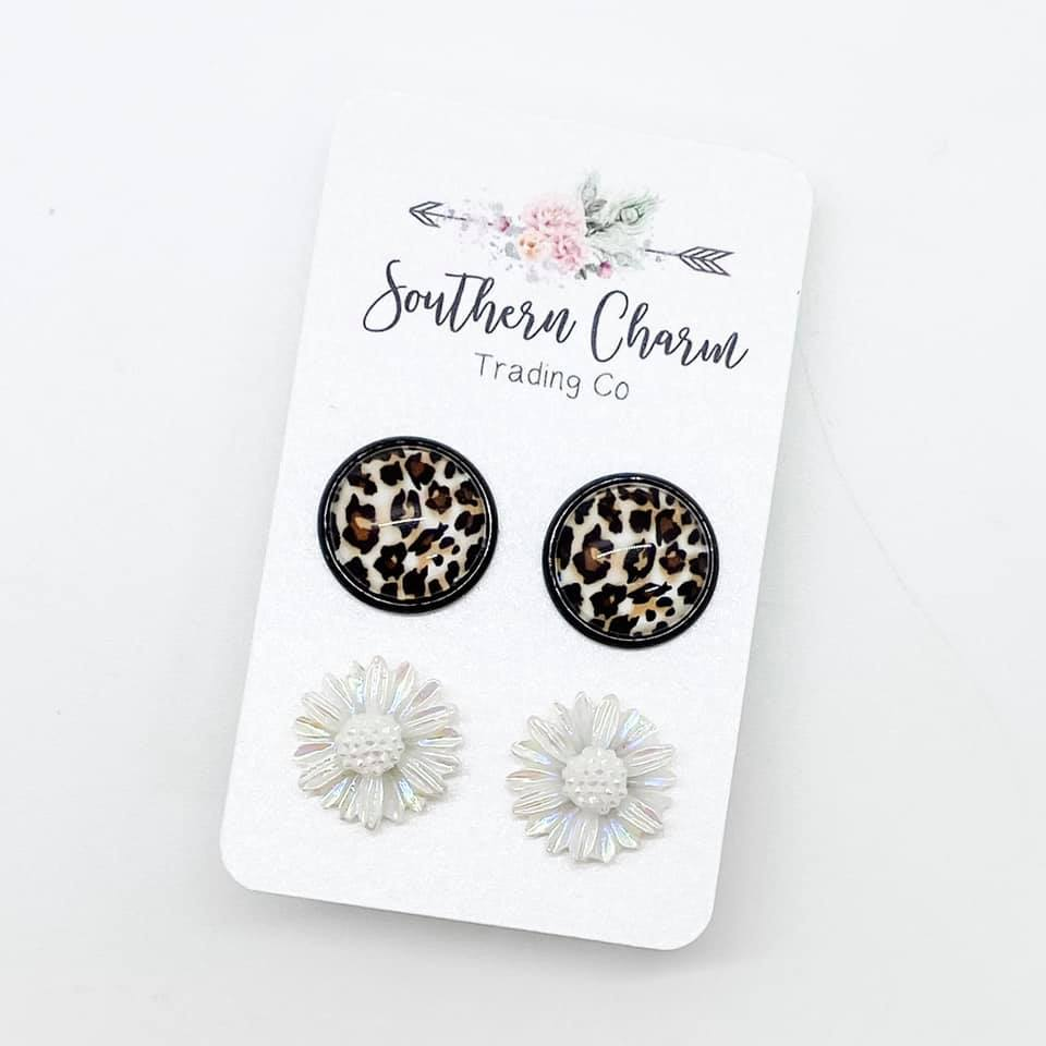 Leopard & White Iridescent Flower Studs in Black Settings