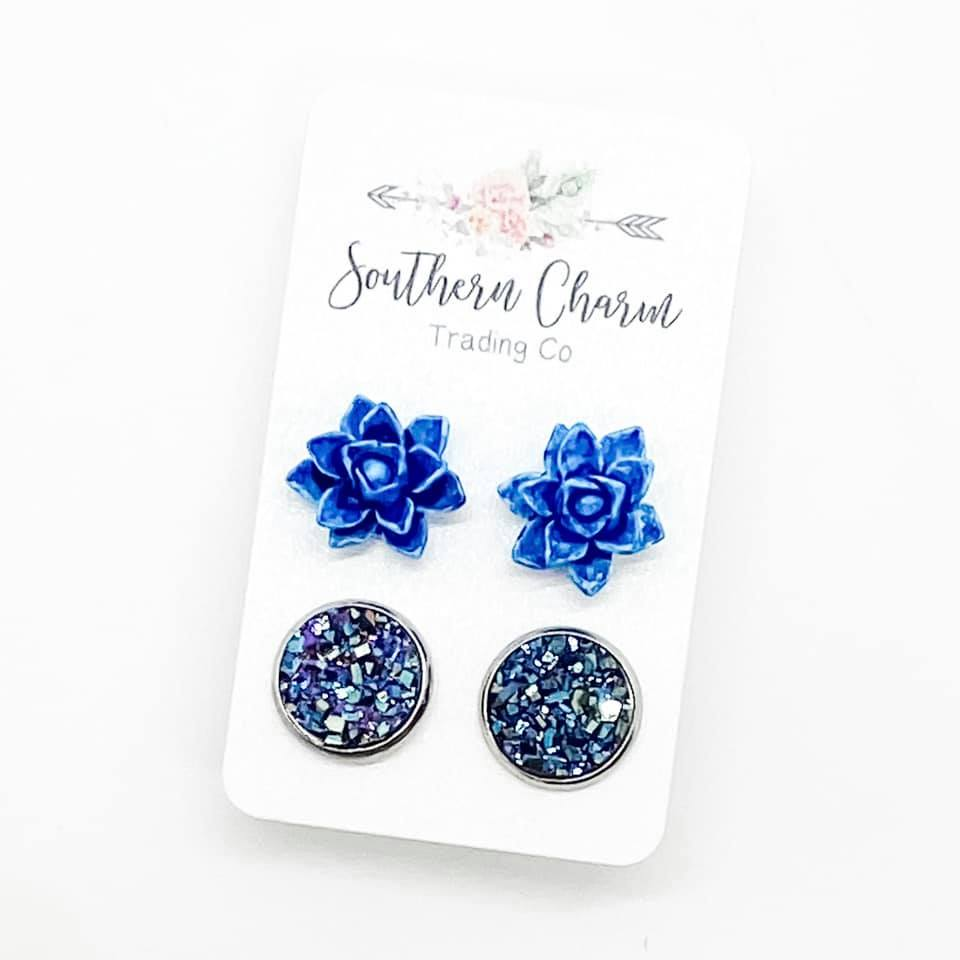 Vintage Blue Succulents & Iridescent Blue Quartz Studs in Stainless Steel Settings