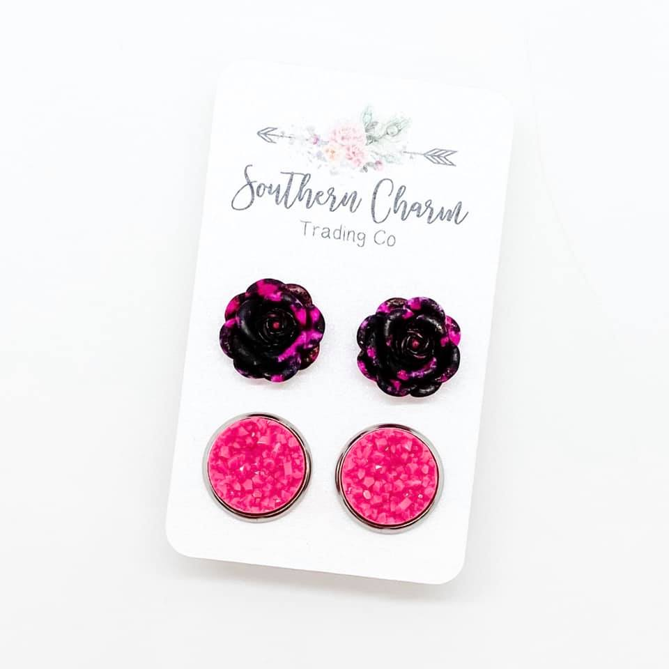 Black & Pink Roses & Hot Pink Shimmer Studs in Stainless Steel Settings