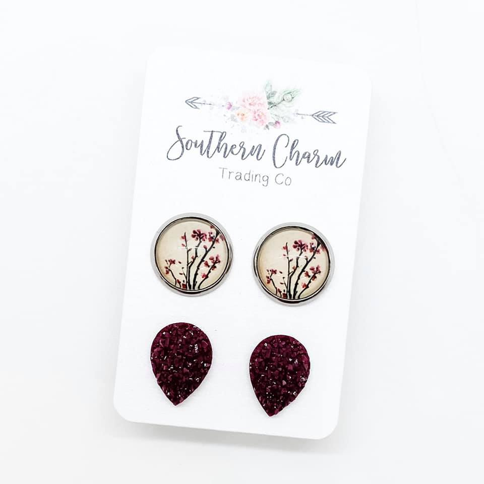 Cherry Blossom & Burgundy Teardrop Studs in Stainless Steel Settings