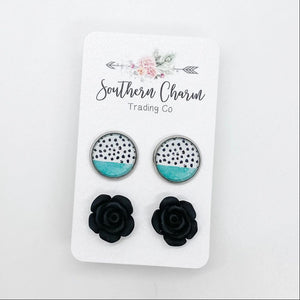 Teal/Black Polka Dots & Black Studs in Stainless Steel Settings