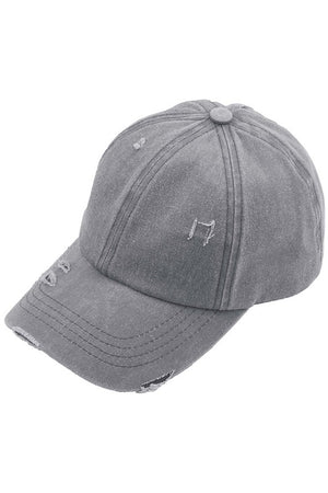 C.C Distressed and Washed Denim Ladder Pony Cap in Gray