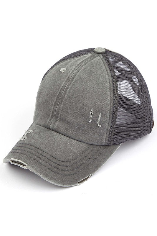 CC Mesh Ponytail Baseball Cap in Gray with Criss Cross Back