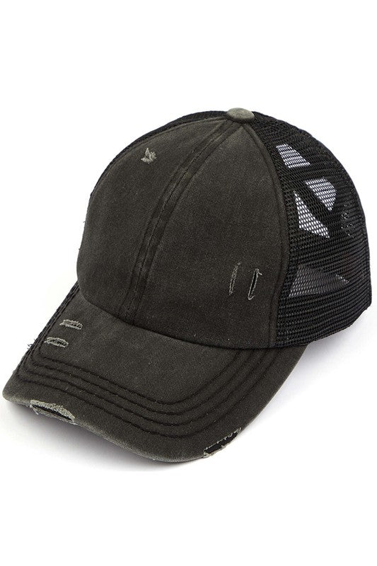 CC Mesh Ponytail Baseball Cap in Black With Criss Cross Back