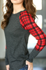 Crushing On You Top with Plaid Sleeves in Charcoal
