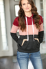 Good Impression Color Block Hoodie in Burgundy, Dusty Pink and Black