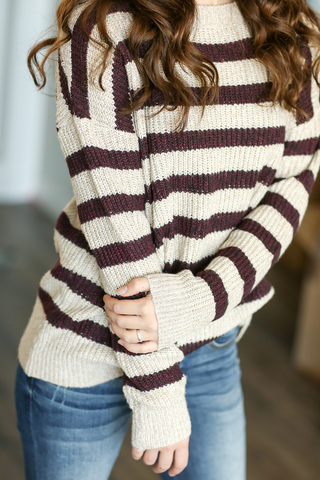 Afternoon Crush Sweater in Oatmeal and Plum