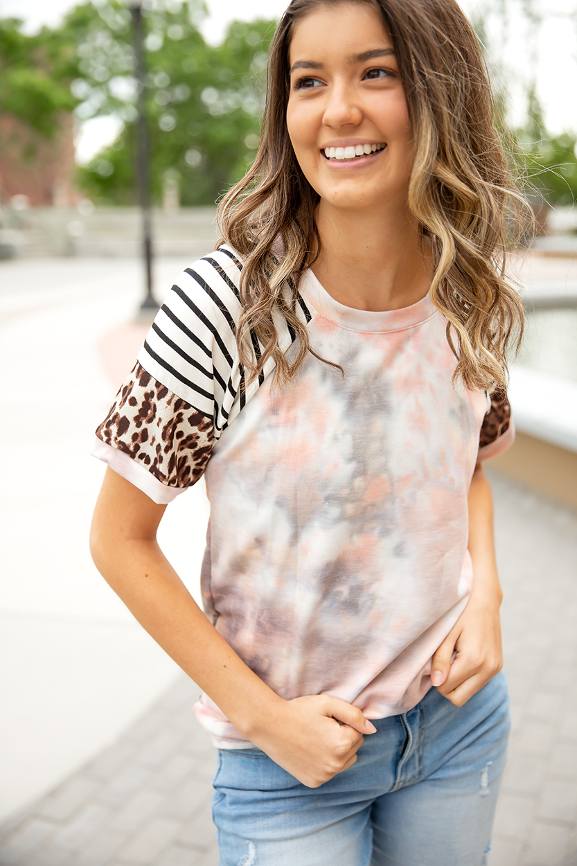 Tell Me About It Tie Dye Top In Pink and Gray with Animal Print