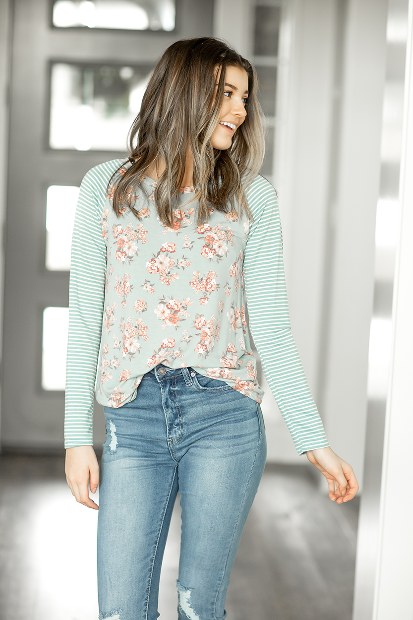Little Things Ivory Floral and Striped Top in Turquoise