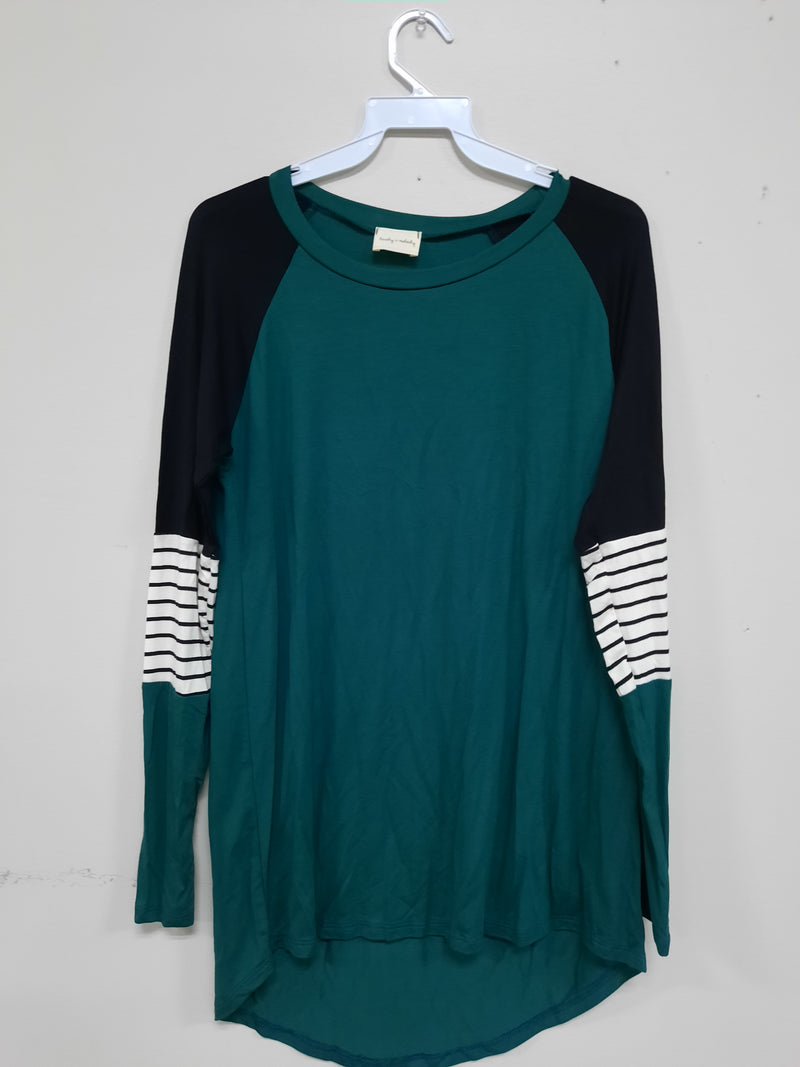 Rock with me Hunter Green Long Sleeve Top