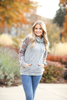 Lead The Way Floral Sleeve Cowl Neck in Heather Gray