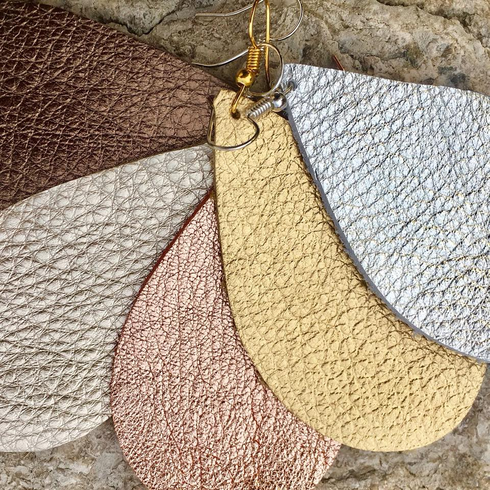 5 Shades Leather Earrings