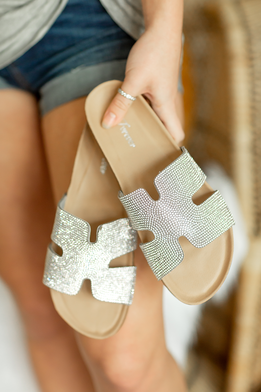 Sparkle and Shine Sandals in Silver