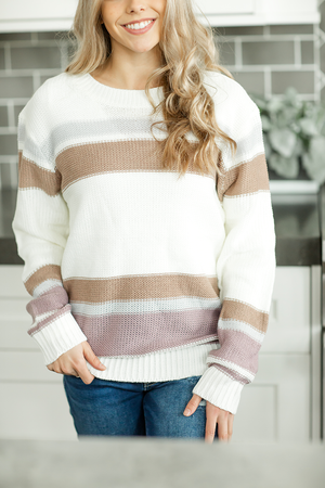 Comfort of Your Arms Sweater in Lavender, Mocha, and Ivory