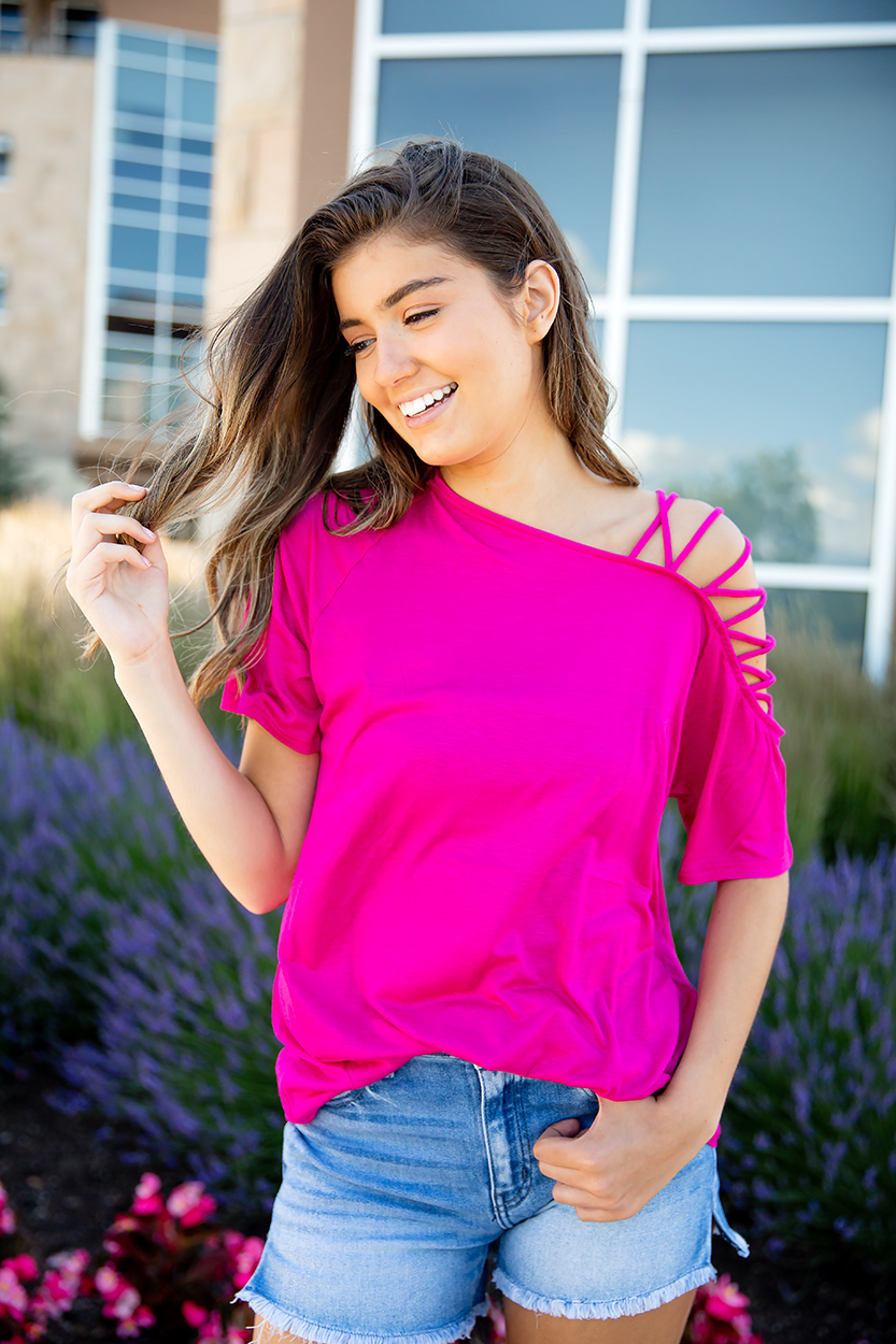 Yours Truly Cold Shoulder Fuchsia Top
