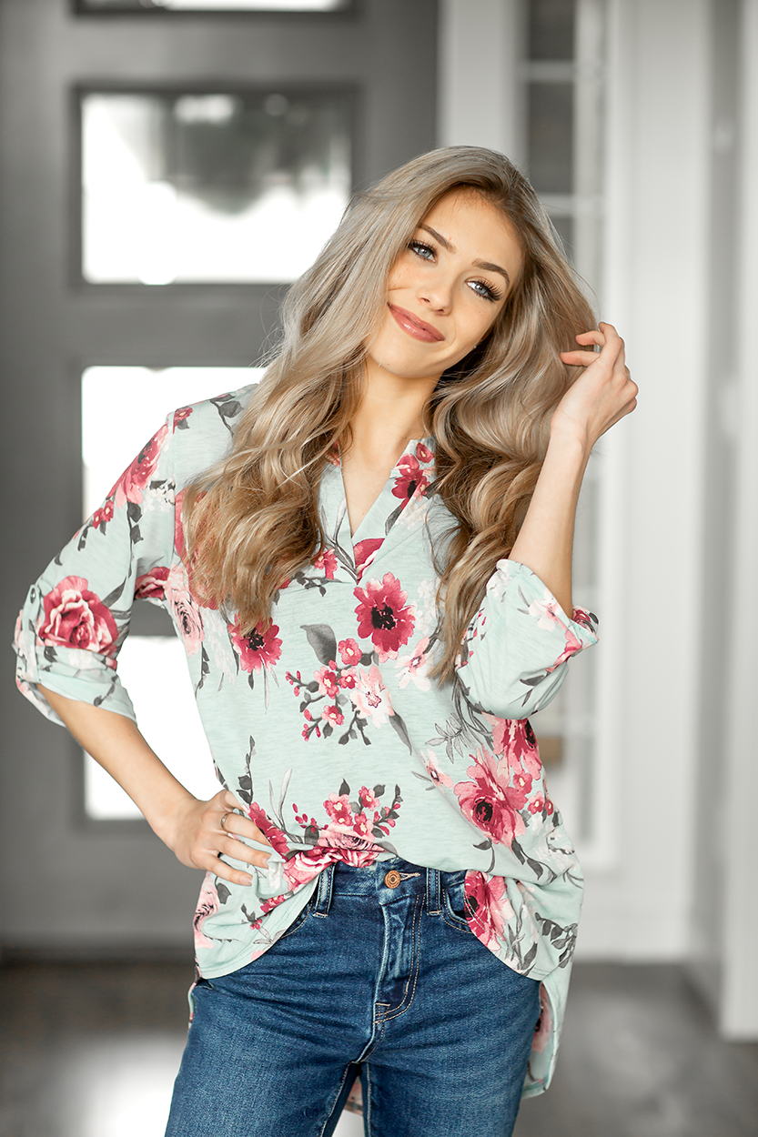 Someone Like You Floral Top in Mint