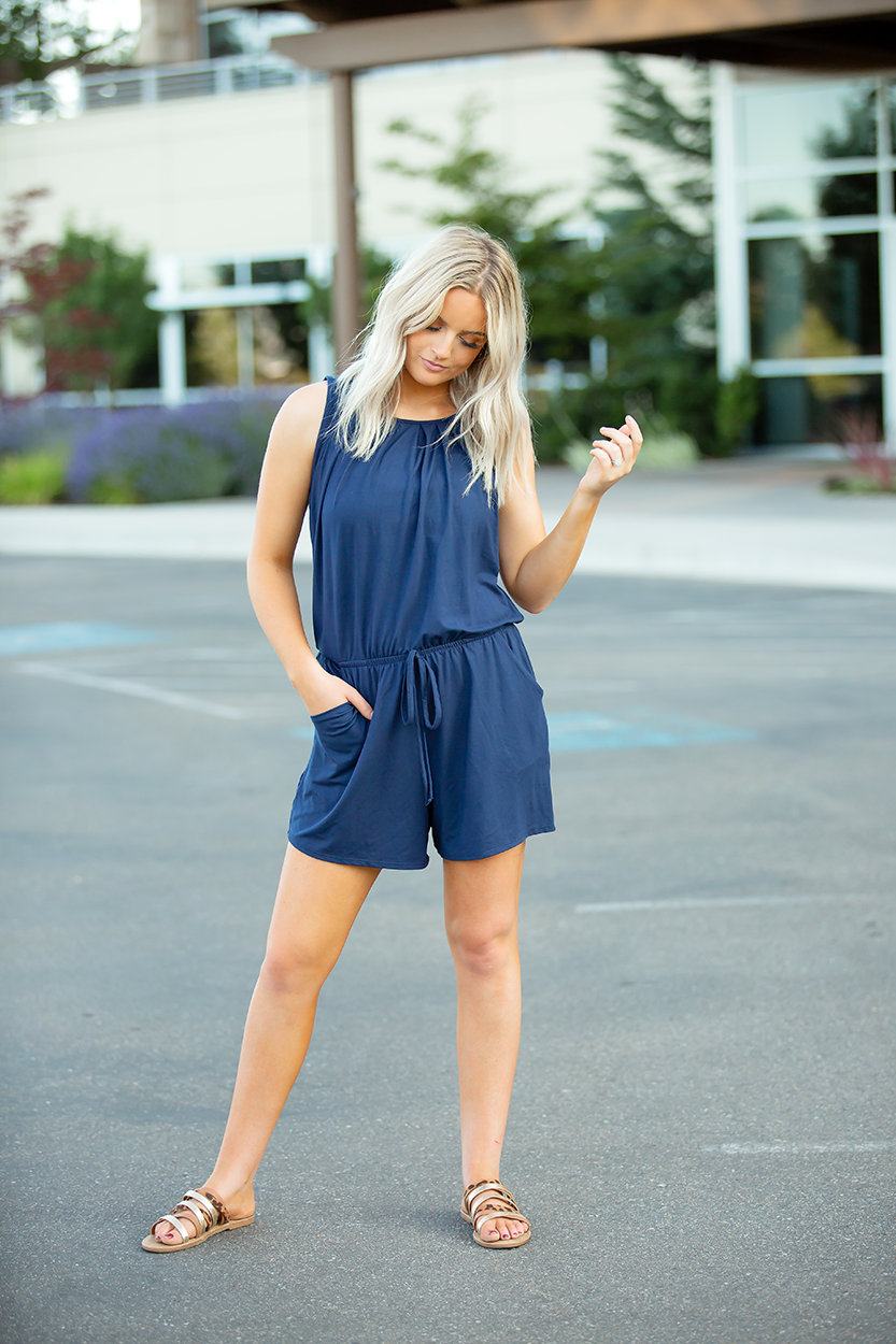 Piece of My Heart Romper in Navy