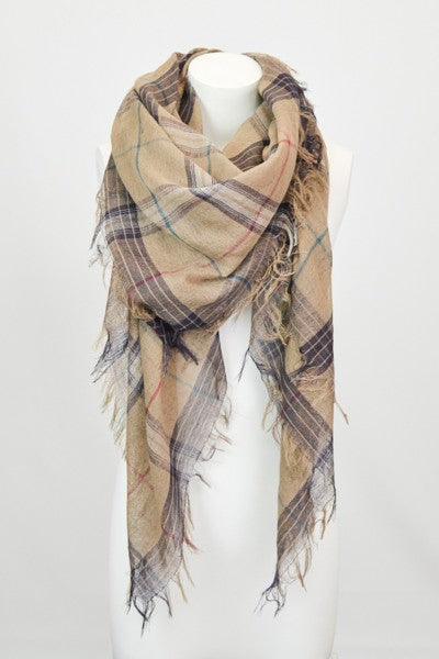 Plaid Scarf in Mocha
