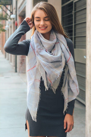 Plaid Scarf in Gray