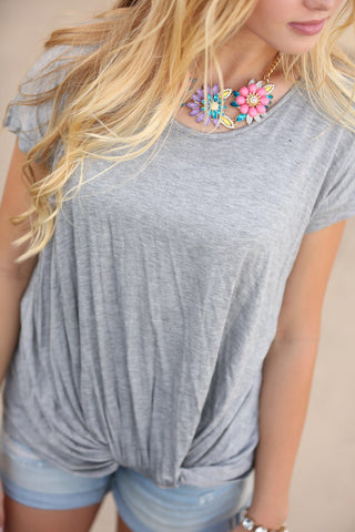 Knot So Fast Tee in Gray (SALE)