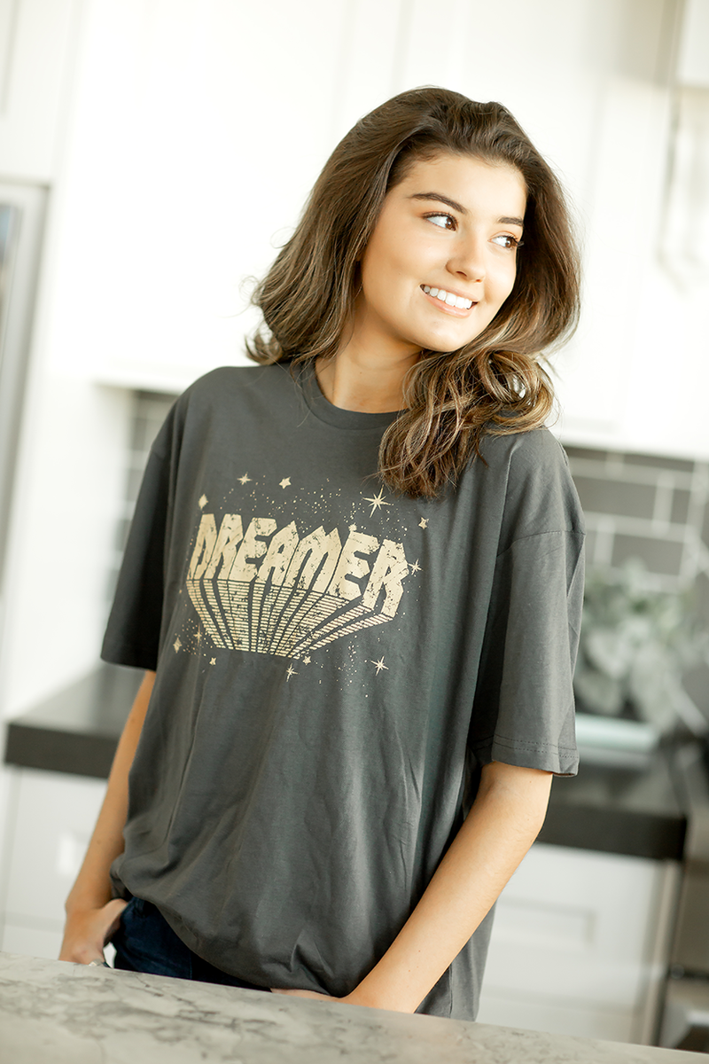 Dreamer Graphic Tee in Charcoal