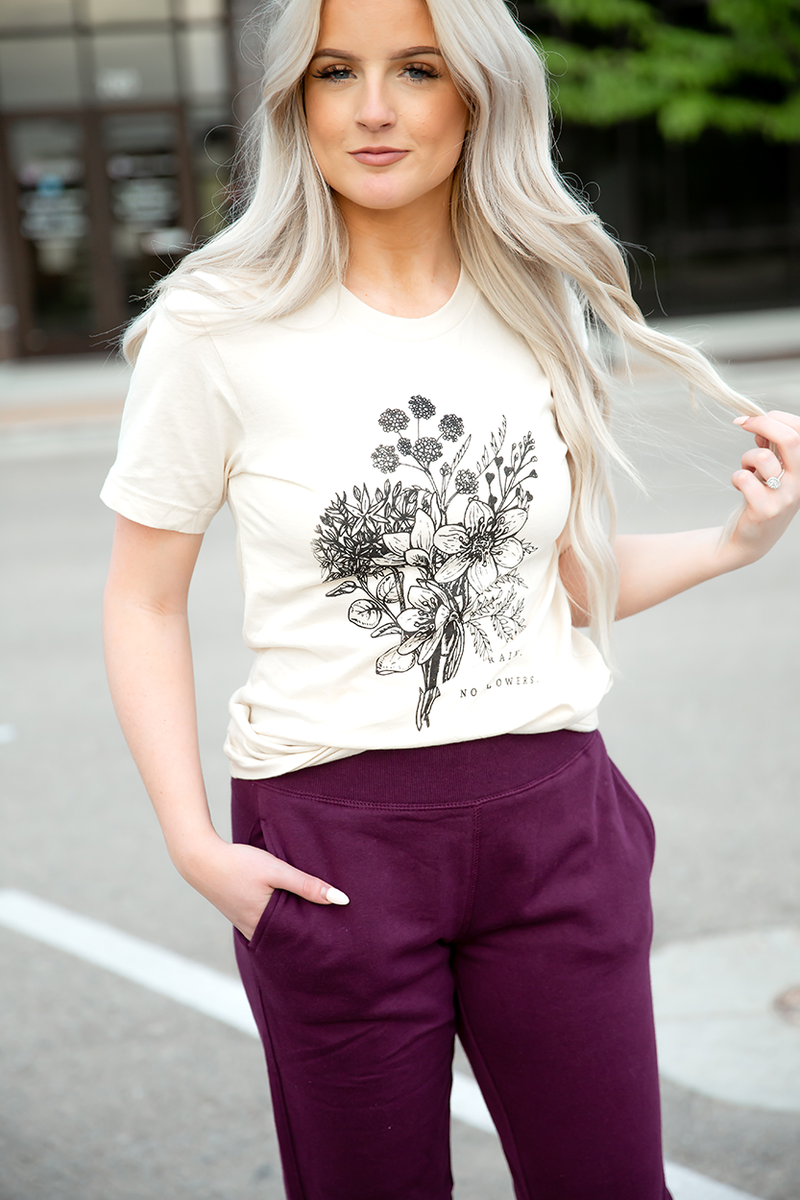 No Rain No Flowers Graphic Tee in Cream
