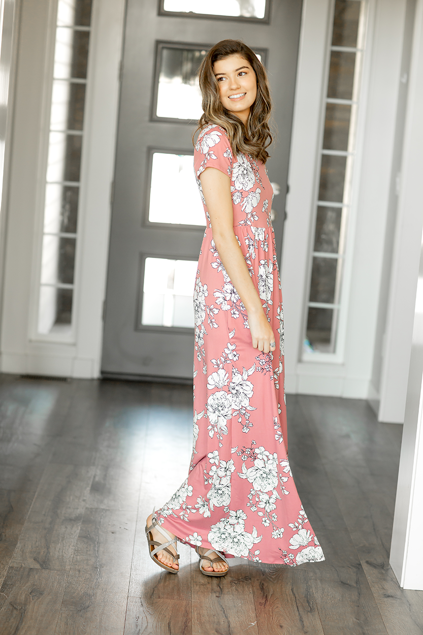 Dressing Up Floral Maxi Dress in Mauve