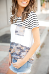 Always Believing Stripe with Camo Pocket Top