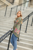 Many Reasons Olive Floral Top with Striped Detail