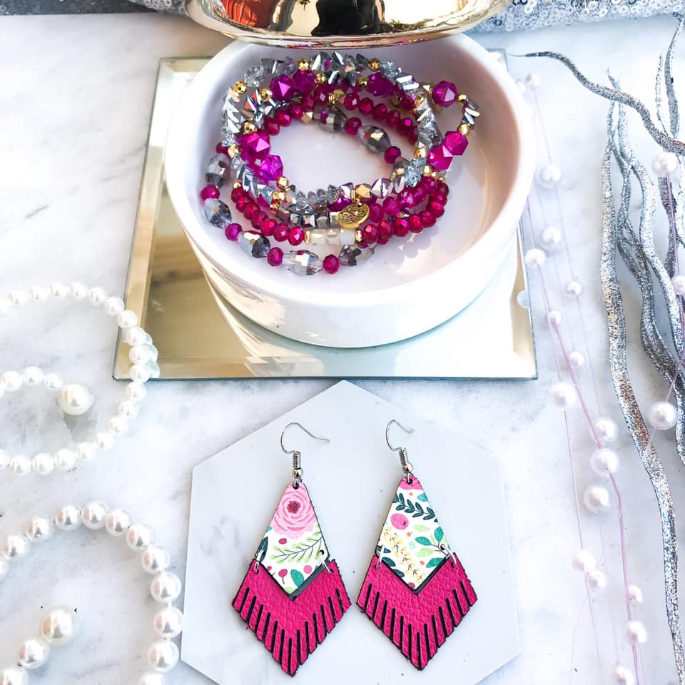 Floral Fringe Leather Earrings in Pink
