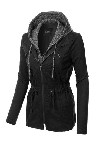 Take Charge Cargo Jacket With Hood in Black