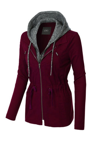 Take Charge Cargo Jacket With Hood in Wine