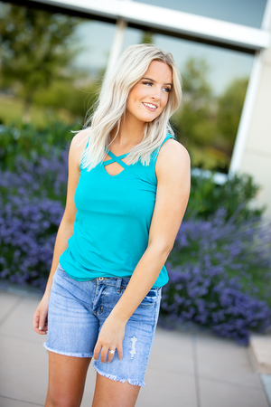 Foolish Love Criss Cross Tank in Turquoise