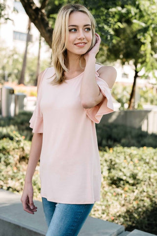 Say Yes Cold Shoulder Top in Blush
