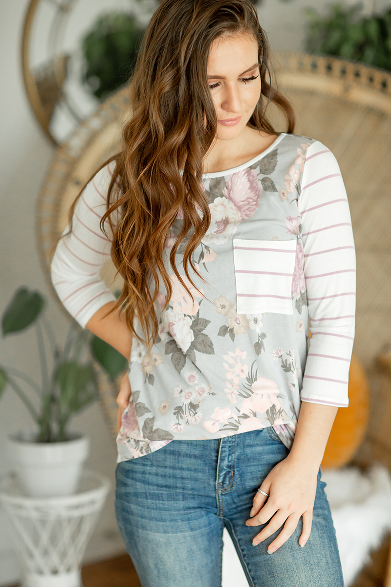 Complete the Look Floral Tee With Stripes in Lavender